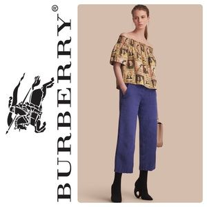New Burberry Framed Heads printed cotton top sz 12